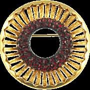Vintage Red Rhinestone Pin