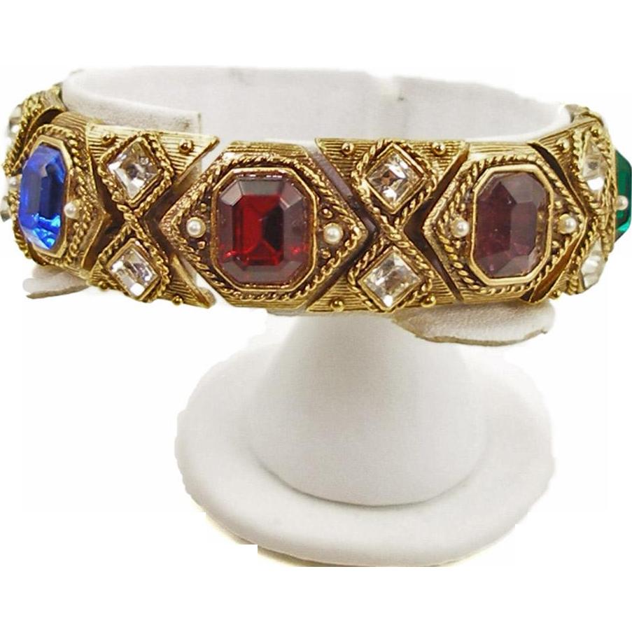 Vintage Unsigned Faux Gemstone Bracelet