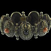 Vintage Ben Amun Faux Onyx & Carnelian Bracelet