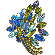 Vintage DeLizza & Elster Juliana Leaf Pin in Shades of Blue and Green