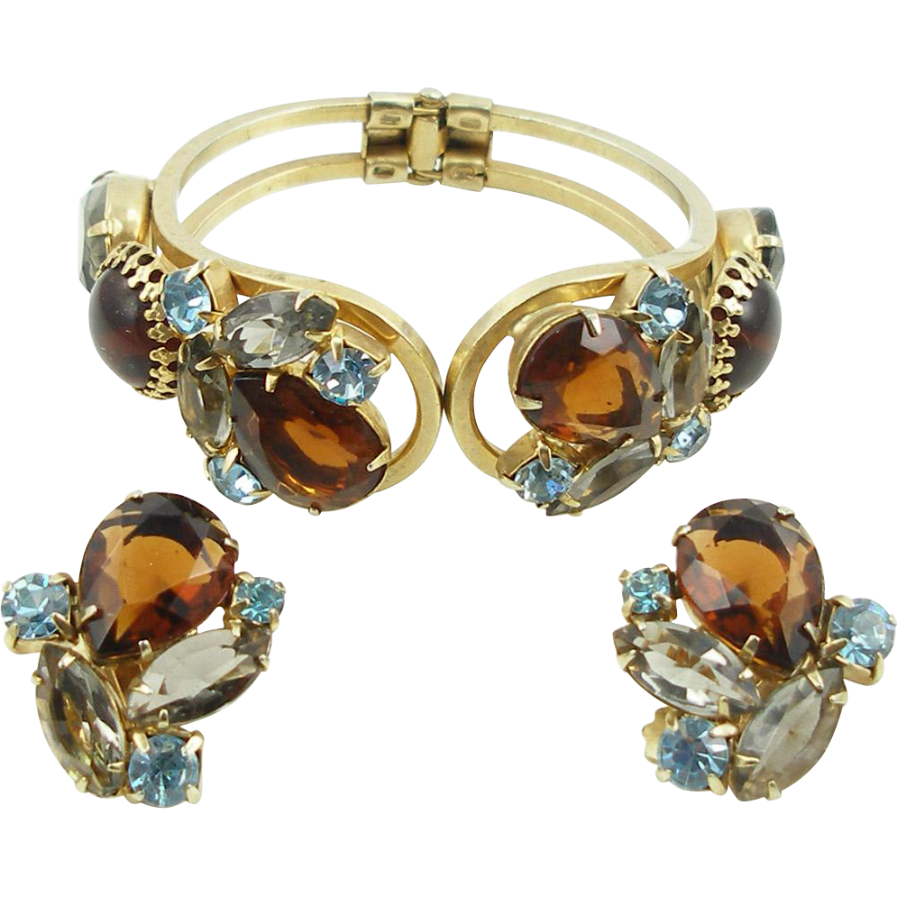 Vintage Topaz and Blue Hinged Bangle Bracelet and Earrings Set