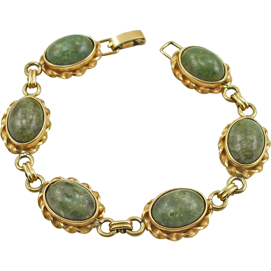 Vintage Signed Krementz Marbled Green Bracelet