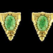 Vintage Pair of Glass Jadeite Dress Clips