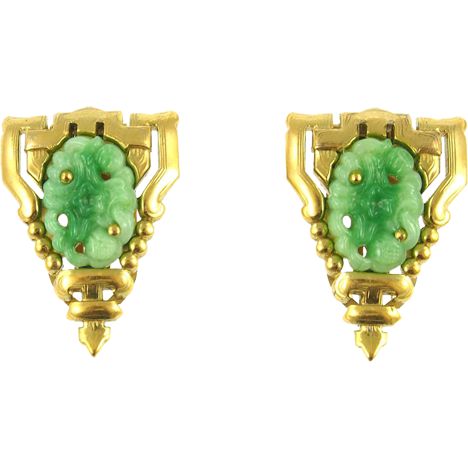 Vintage Pair of Glass Jadeite Dress Clips