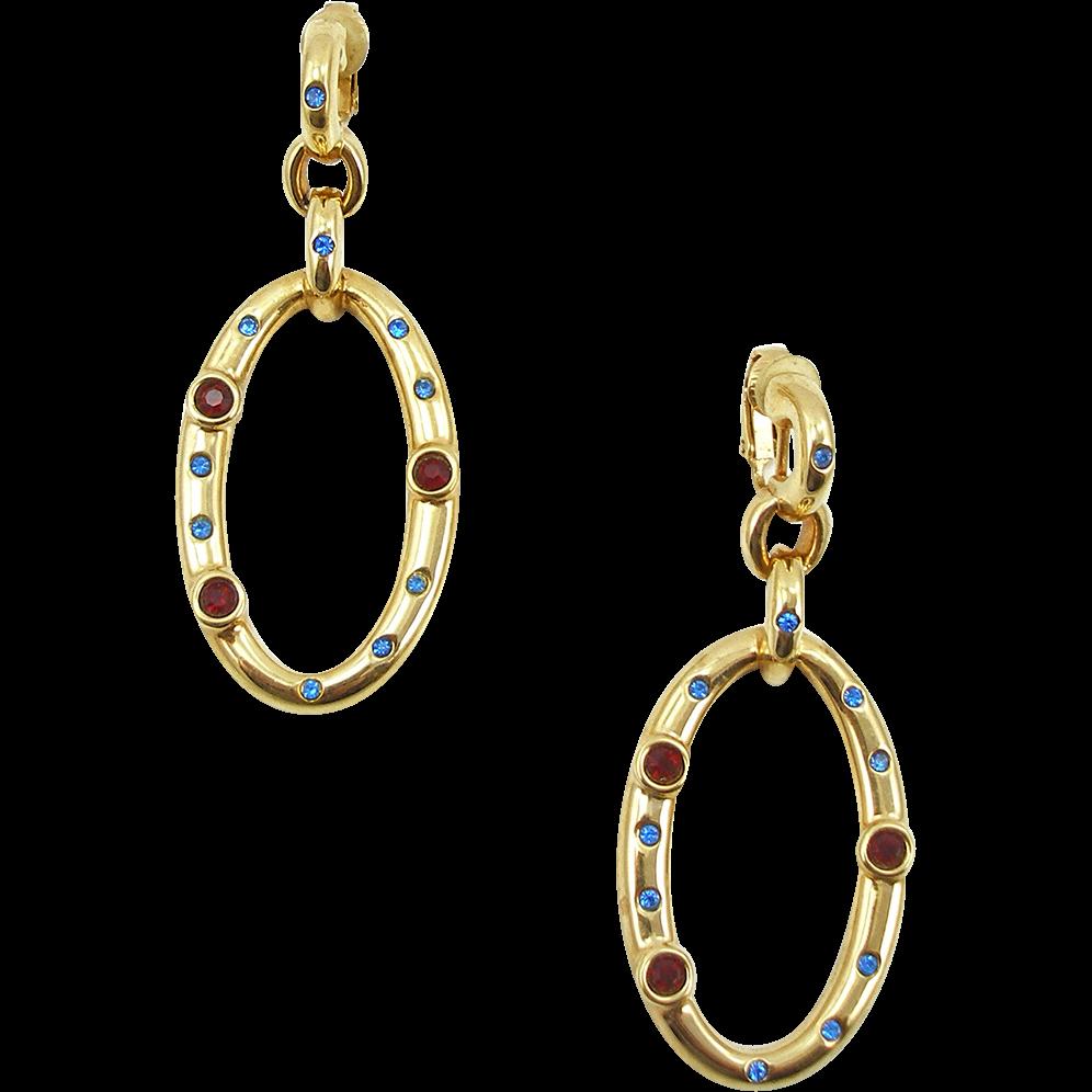 Vintage Swarovski Jeweled Dangle Clip Earrings