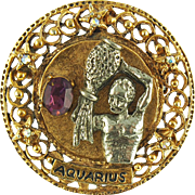 Vintage Signed Art Aquarius Zodiac Pin