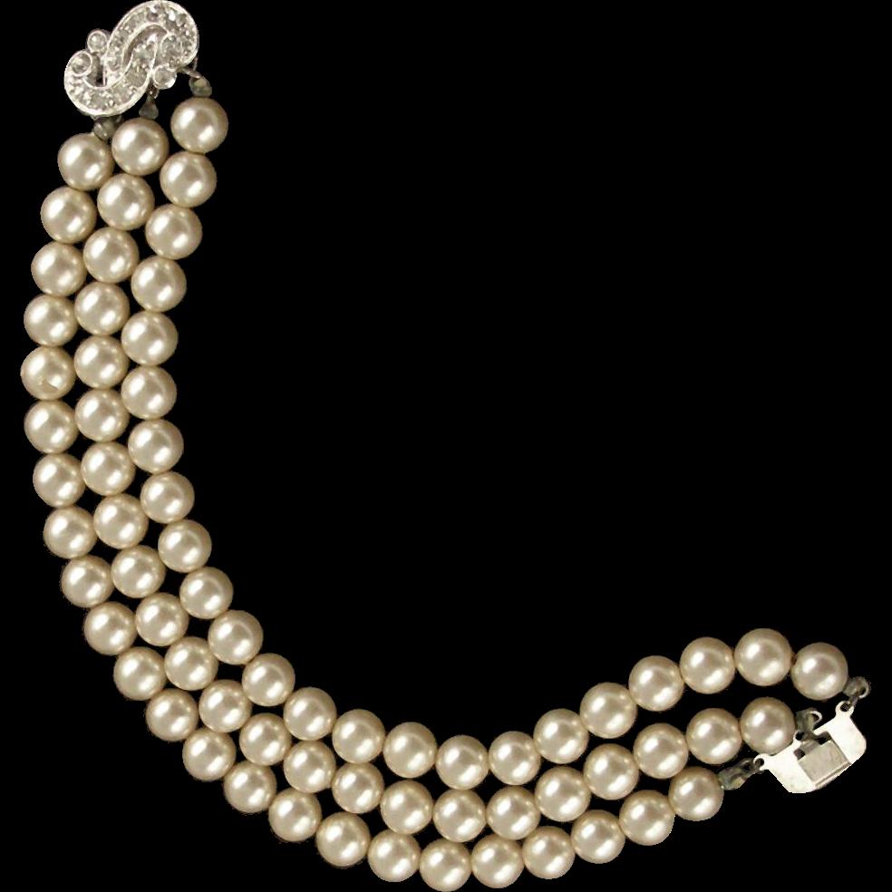 Vintage Glass Pearl Bracelet Signed BL