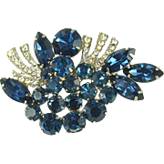 Vintage Sapphire Blue Rhinestone Pin