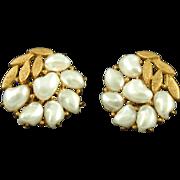 Vintage Trifari Faux Pearl Clip Earrings