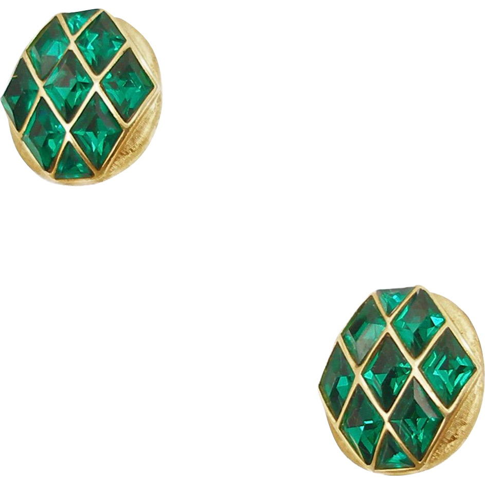 Vintage Signed Trifari Faux Emerald Clip Earrings