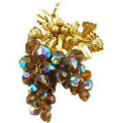 Vintage Beaded Grapes Pin