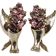 Vintage Sterling Faux Amethyst Flower Vase Earrings