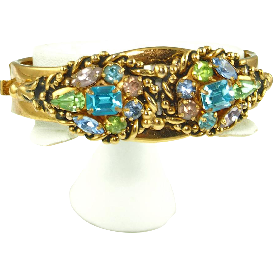Vintage Barclay Jeweled Hinged Bangle Bracelet