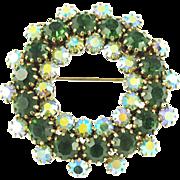 Vintage Faux Emerald & Aurora Borealis Wreath Pin