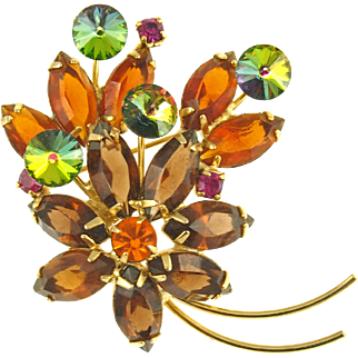 Vintage Unsigned Topaz and Green Rivoli Floral Pin