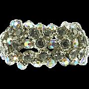 Vintage Unsigned Wide Black Diamond Rhinestone Bracelet