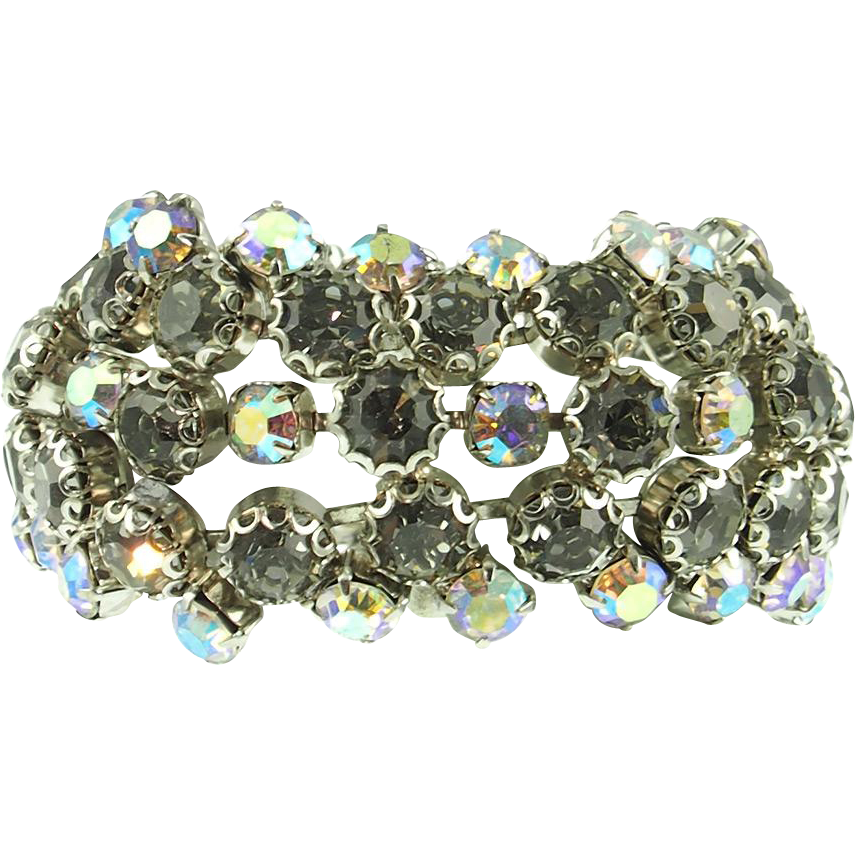 Vintage Unsigned Wide Black Diamond Rhinestone Bracelet