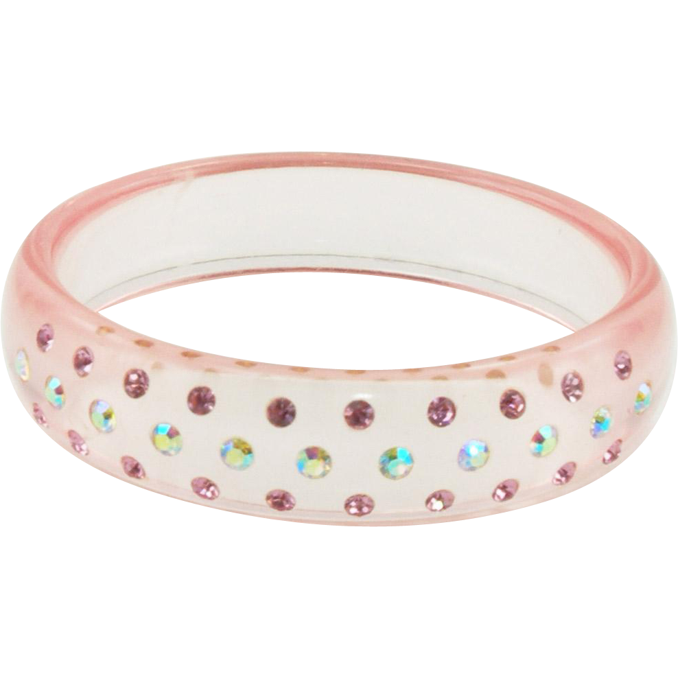 Vintage Pink Lucite Bangle Bracelet with Rhinestones