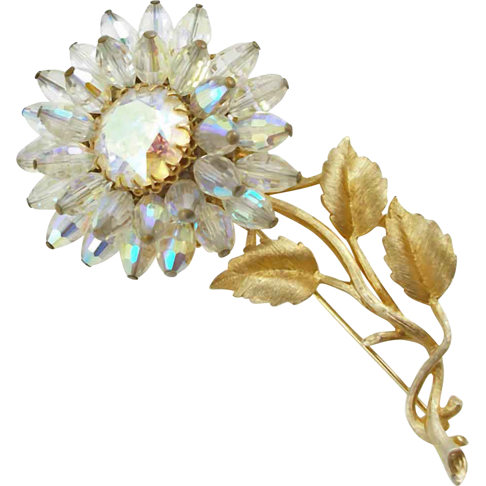 Vintage Signed Vendome Beaded Flower Brooch