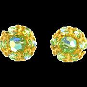 Vintage Vogue Spring Green Clip Earrings