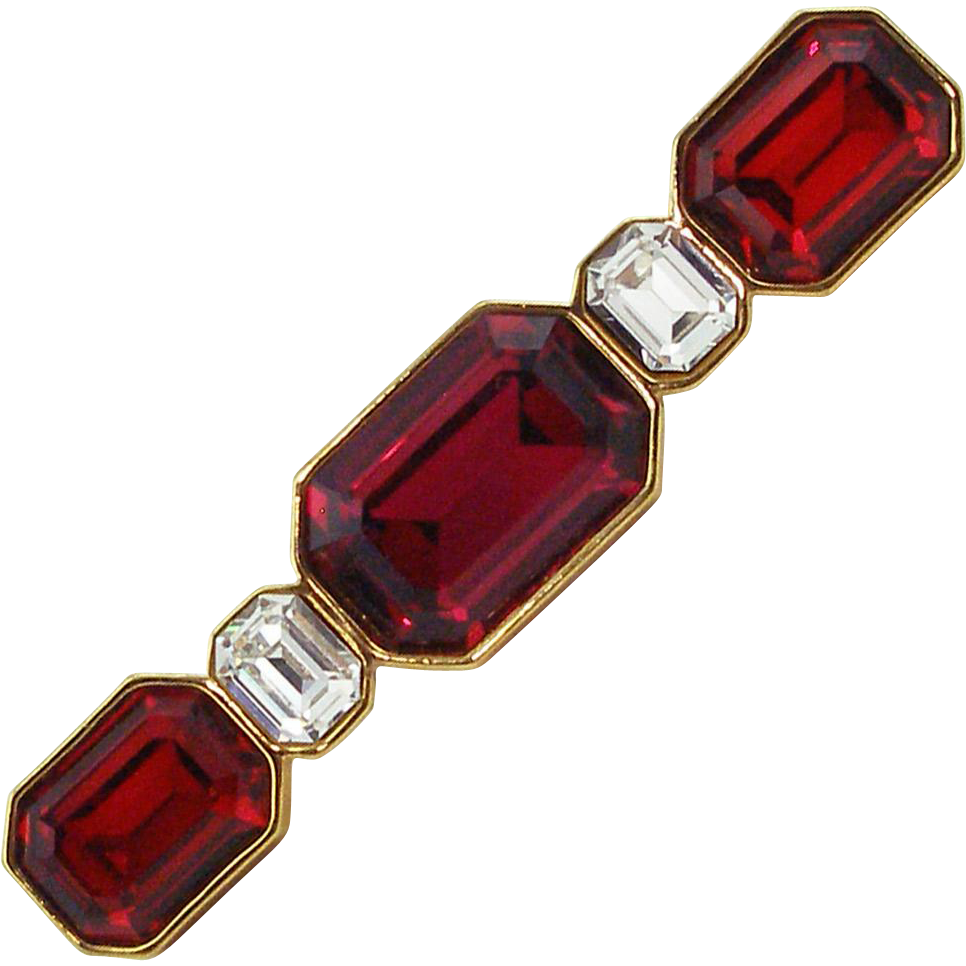 Vintage YSL Yves Saint Laurent Faux Ruby Pin