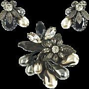 Vintage Regency Faux Pearl & Rhinestone Floral Demi Parure