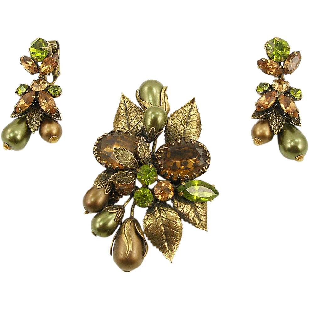Vintage Signed Regency Green and Gold Floral Pin & Earrings Set