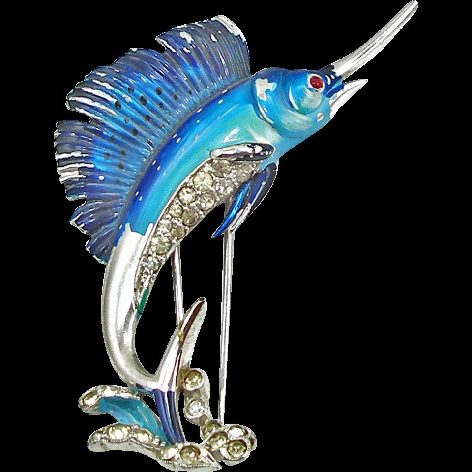 Vintage Signed Trifari Swordfish or Sailfish Fur Clip