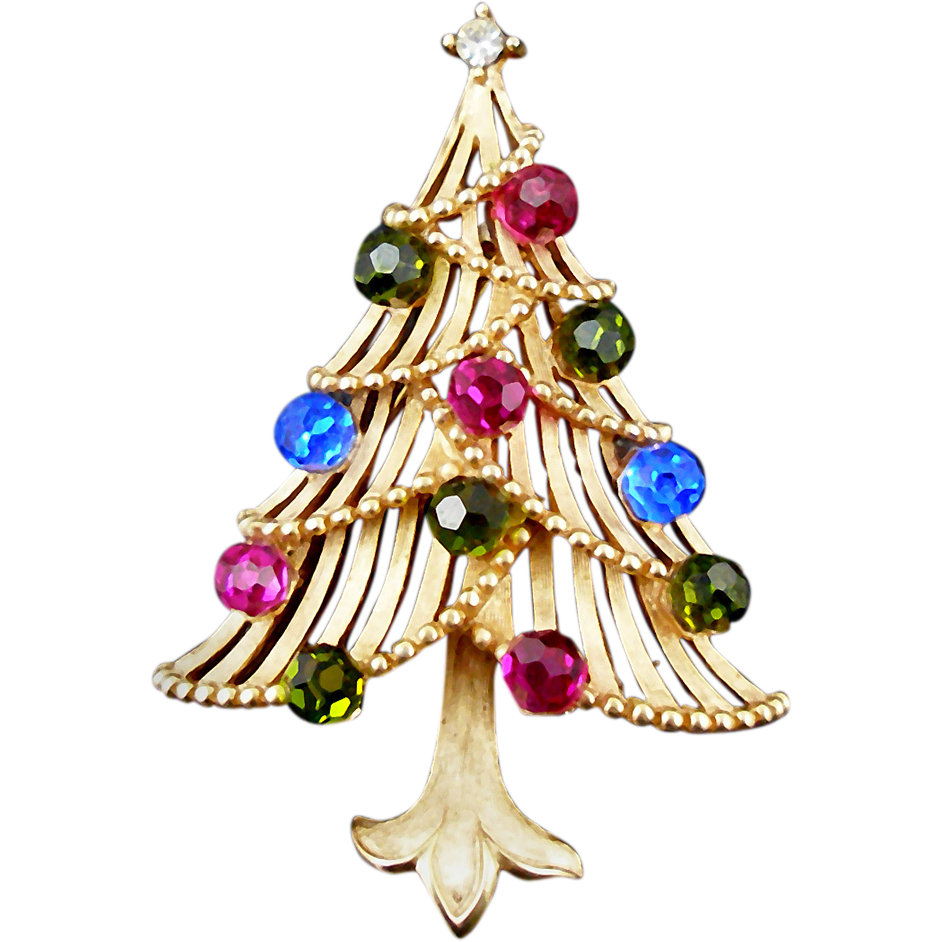 Vintage Trifari Christmas Tree Pin Book Piece