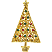 Vintage Lattice Style Christmas Tree Pin