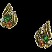 Vintage Signed Coro Leaves Earrings