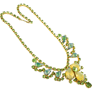 Vintage Blue, Green and Yellow Sabrina Stone Necklace