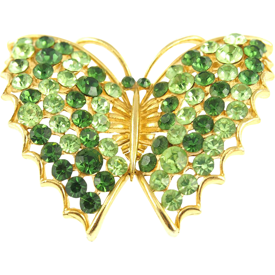 Vintage Lisner Butterfly Pin in Shades of Green