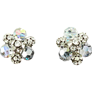 Vintage Crystal Aurora Borealis Bead & Rhinestone Earrings