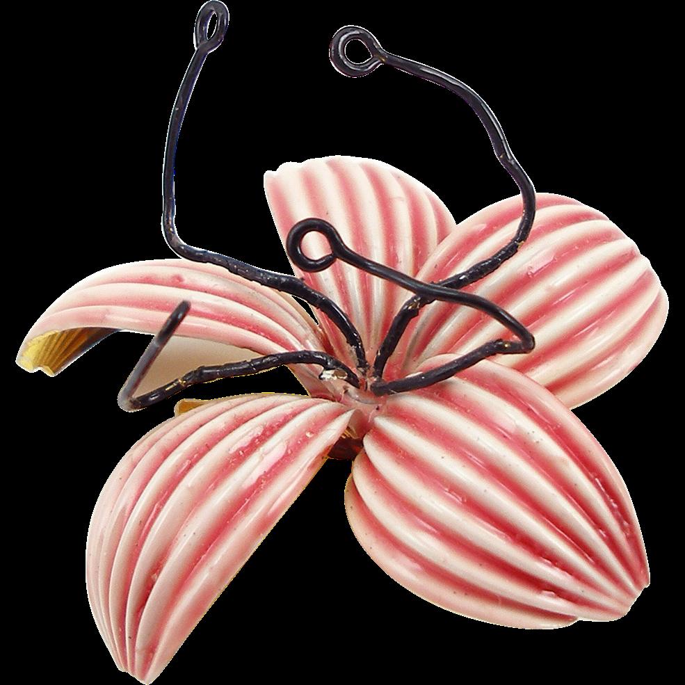 Signed Vintage Sandor Pink Enameled Flower Pin