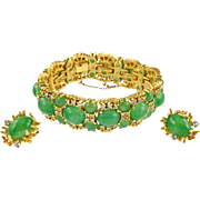 Vintage Signed Panetta Faux Jade Bracelet & Earrings Set