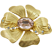 Vintage Unsigned Golden Flower Pin with Colored Rhinestones