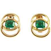 Vintage Signed Reja Faux Emerald Clip Earrings