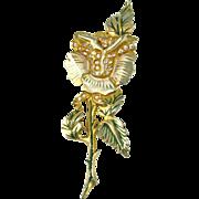 Vintage DEJA Enameled Flower Fur Clip