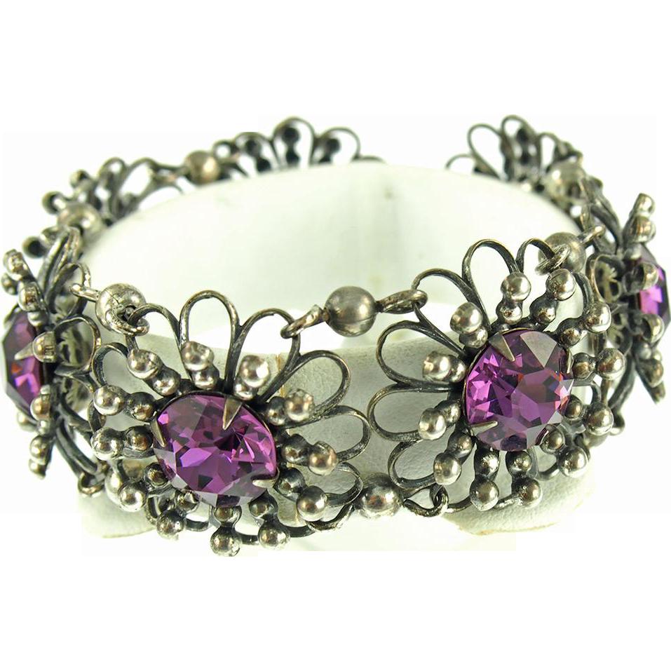 Vintage 1950's Signed Napier Floral Link Bracelet