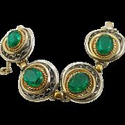 Vintage Signed Schiaparelli Faux Emerald Bracelet