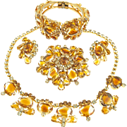 Vintage DeLizza & Elster Juliana Honey Amber Parure