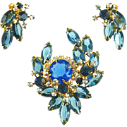 Vintage D&E Juliana Blue Pin and Earrings Demi Parure