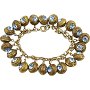 Vintage Puffy Bead with Rhinestones Charm Bracelet