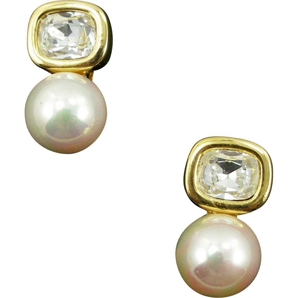 Vintage Signed David Grau Faux Diamond & Pearl Earrings