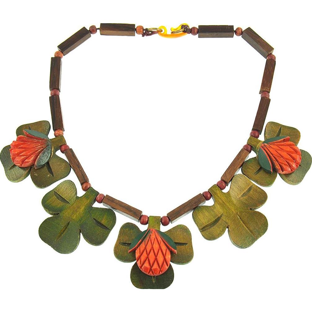 Vintage Wooden Shamrock Necklace