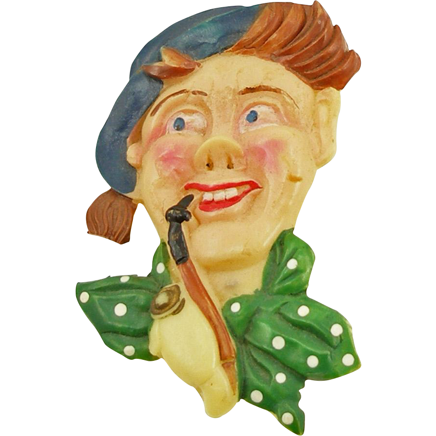 Vintage Painted Celluloid Irishman Pin Marked JAPAN