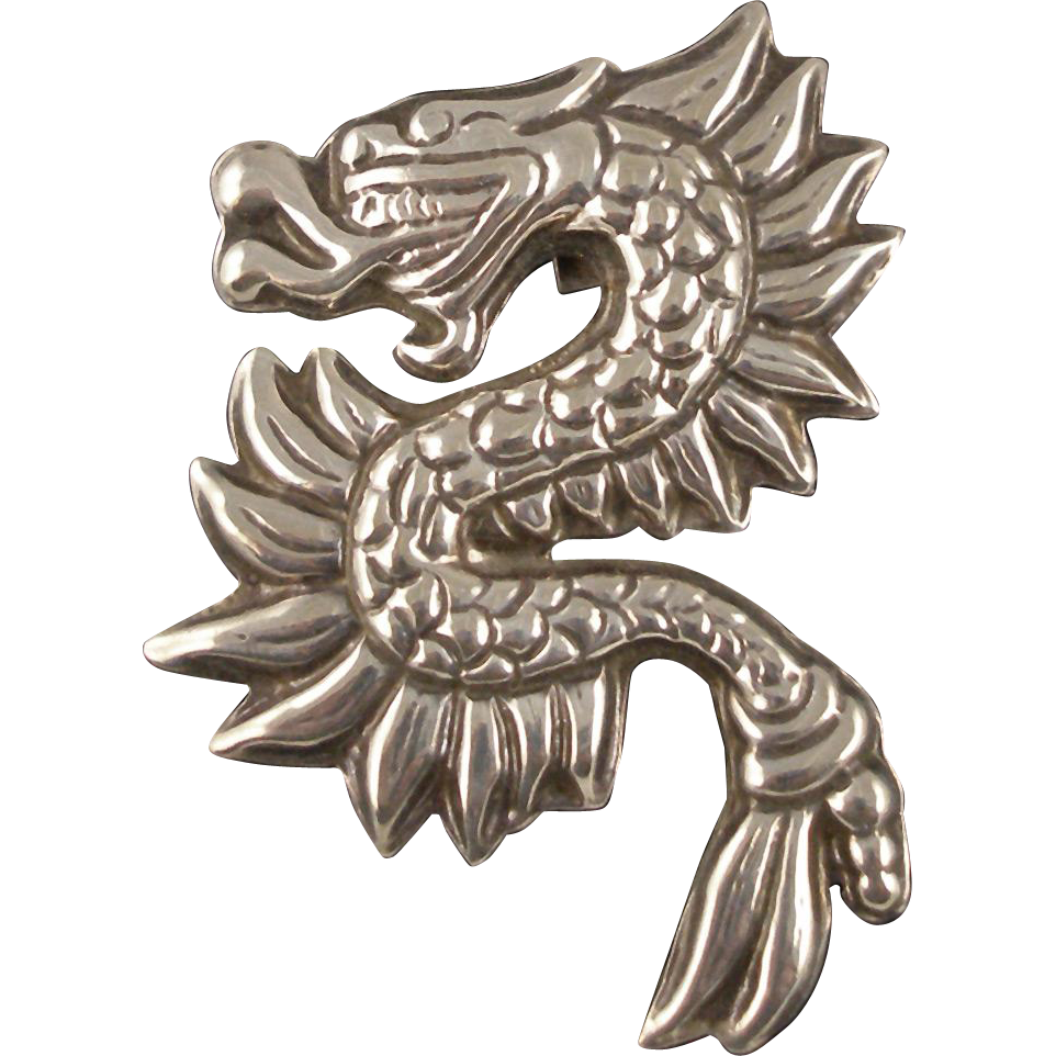 Vintage Mexican Sterling Dragon Pin or Pendant