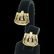 Vintage Signed Nina Ricci Rhinestone Buckle Clip Earrings