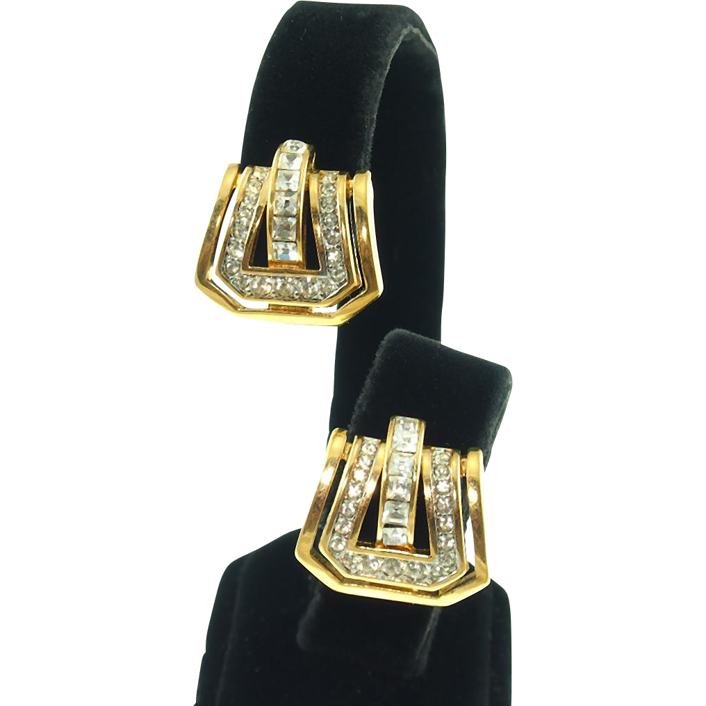 Vintage Signed Nina Ricci Rhinestone Buckle Clip Earrings